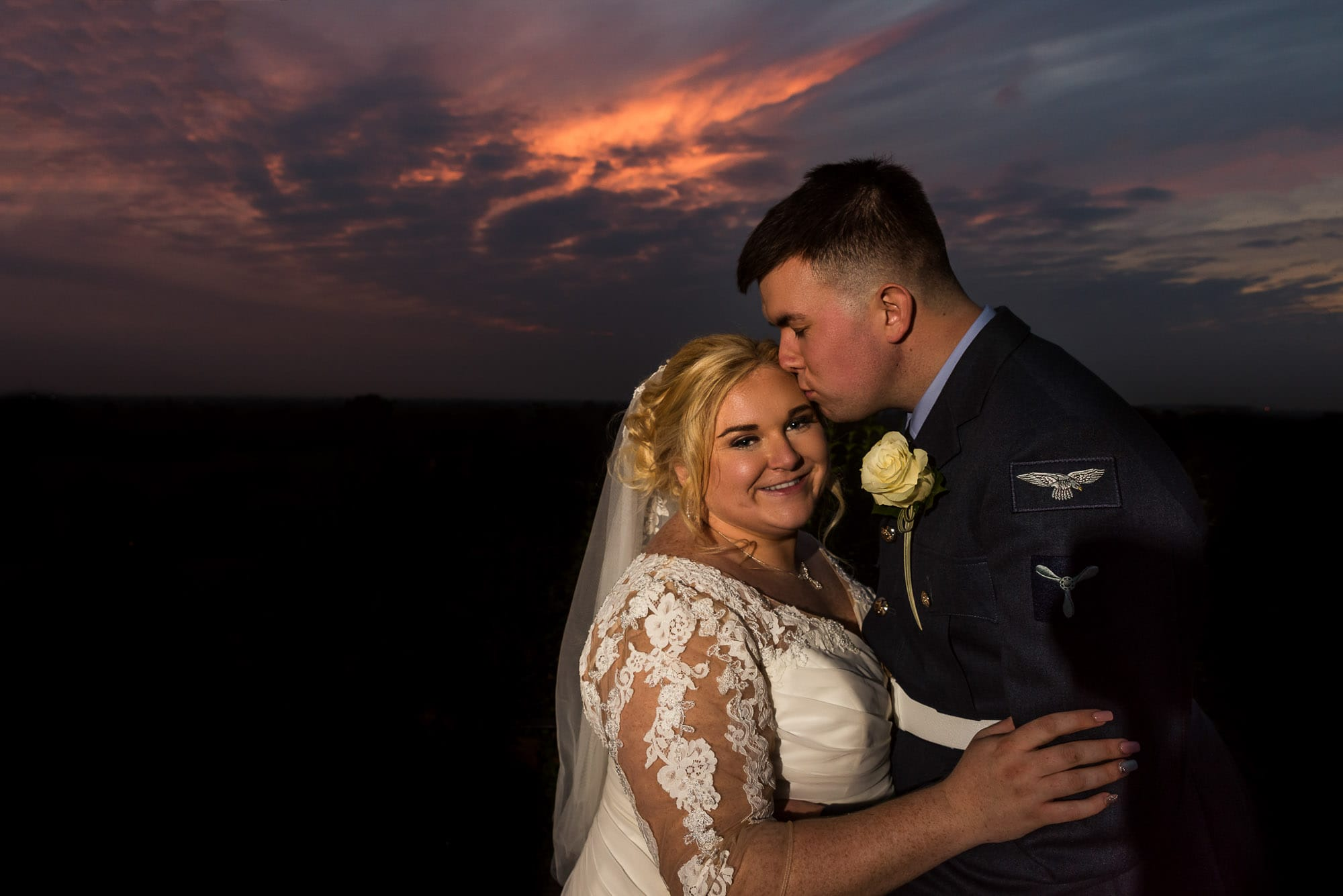 bride and groom sunset portrait at Richmond Hill Hotel