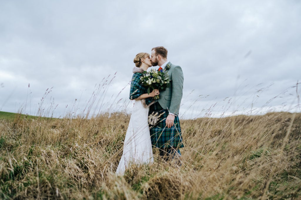 bride and groom in the surroundings of Kinkell Byre