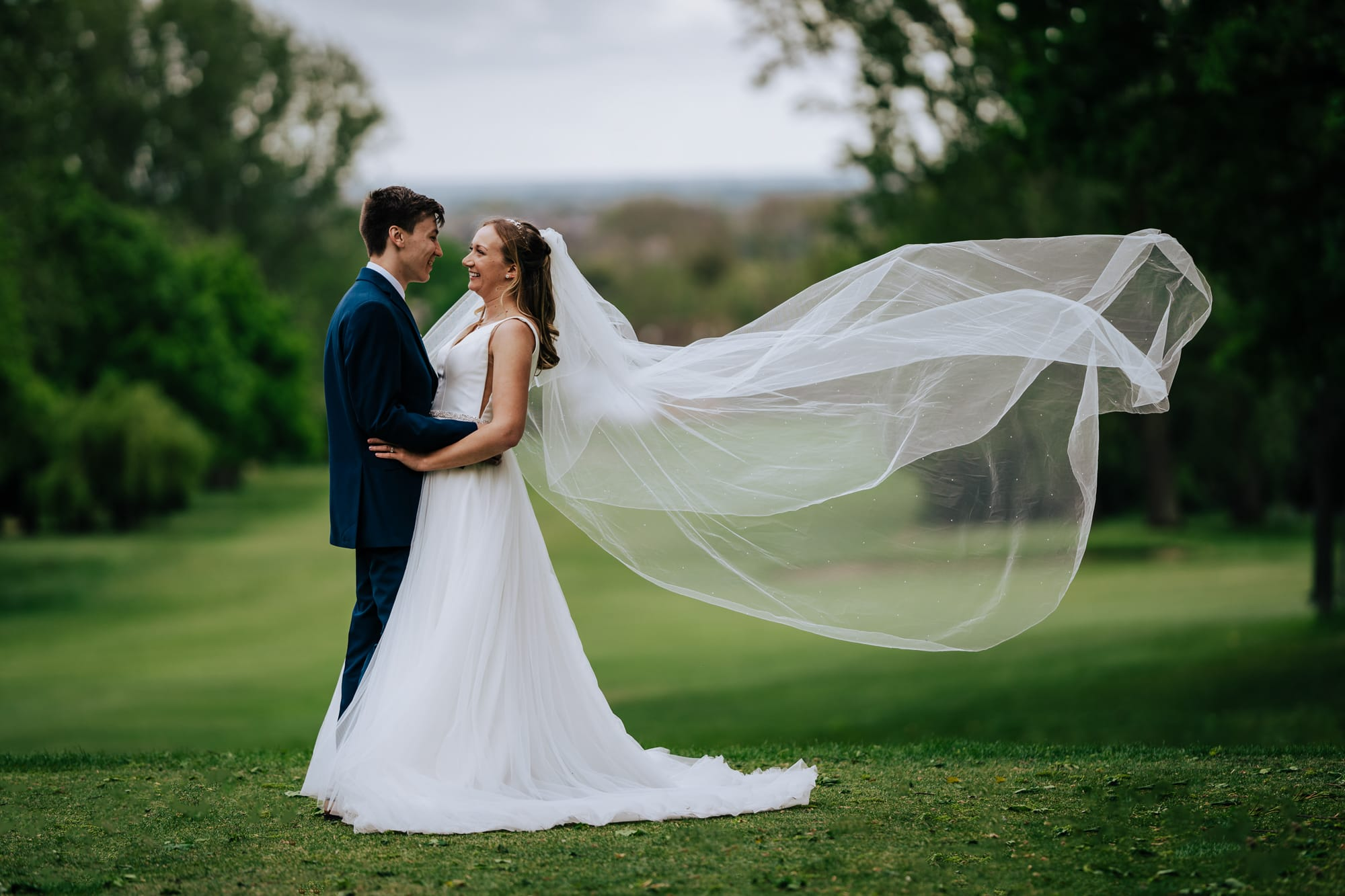 Bride and Groom Portrait at Coombe Wood Golf Course wedding