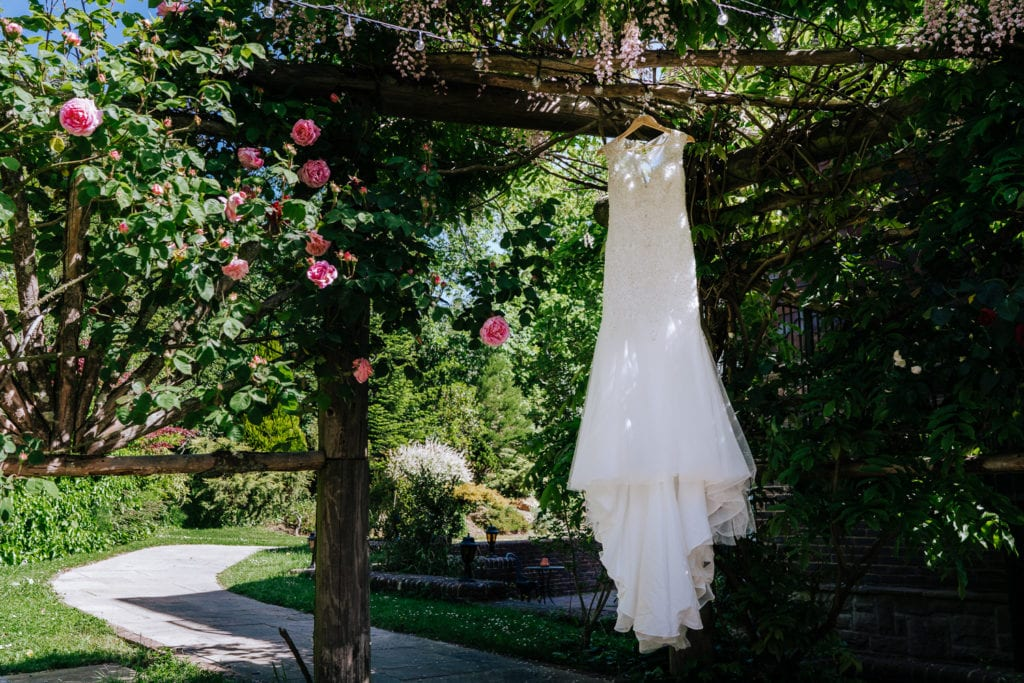 beautiful wedding dress outside in Ravenswood Wedding venue