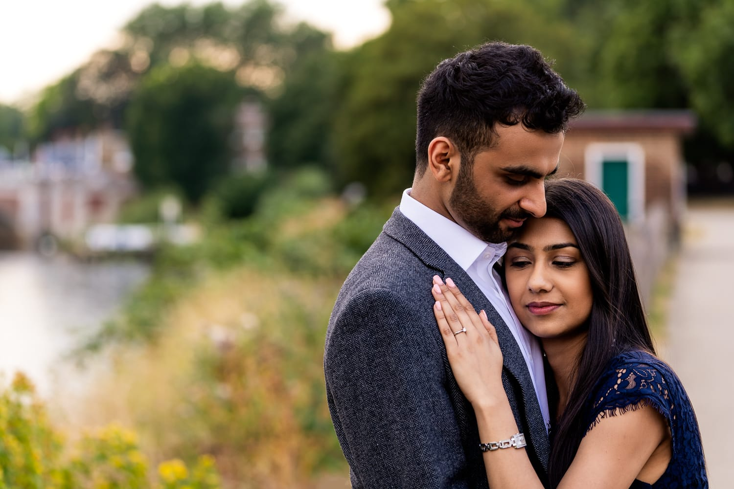 sweet intimate moment captured of couple during proposal wedding shoot | Alex Buckland Photography