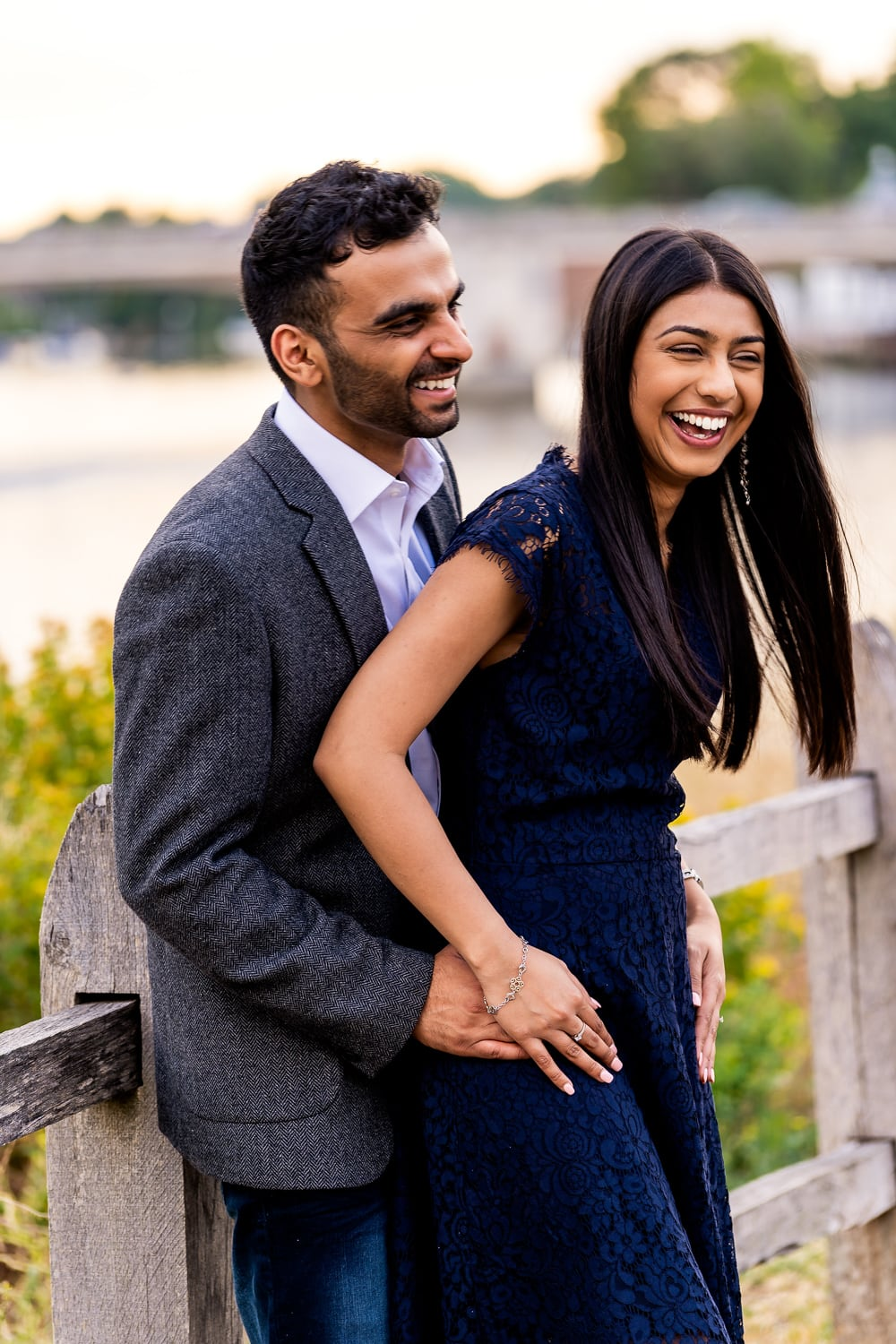 smiling happy couple in wonderful proposal shoot