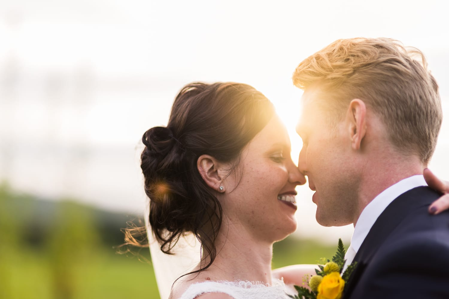 close up portrait of bride and groom at Iwerne Minster wedding