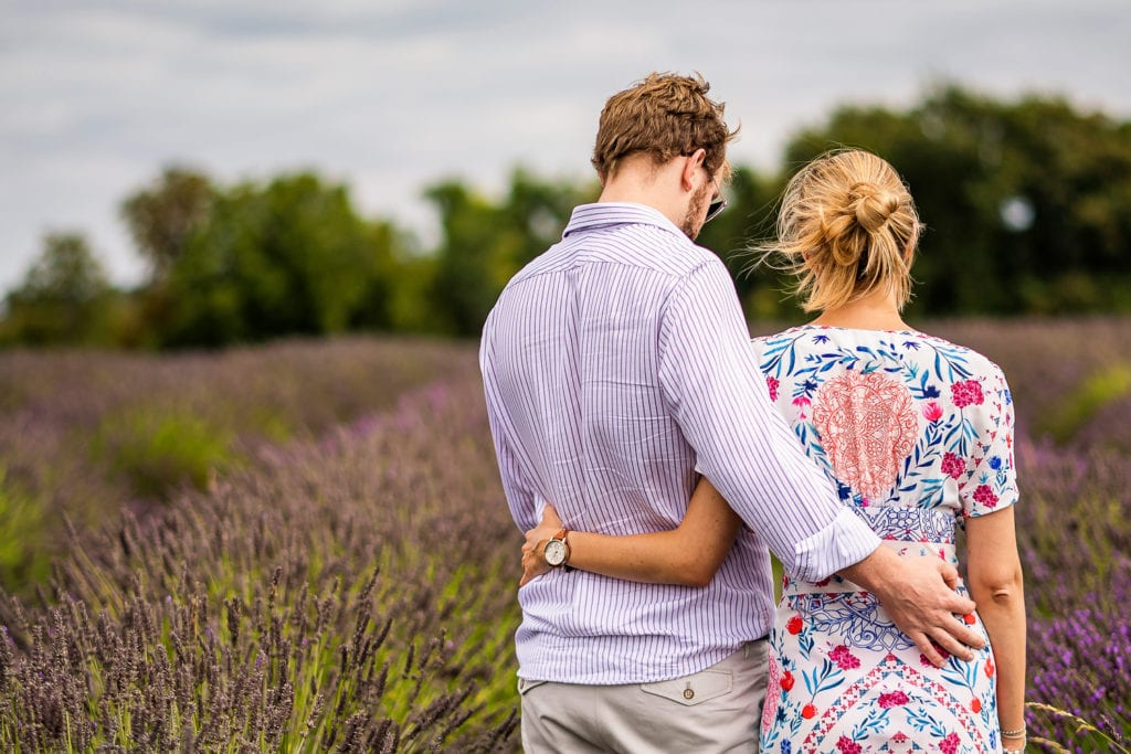 Lovers captured during their engagement shoot at Mayfield Lavender Farm