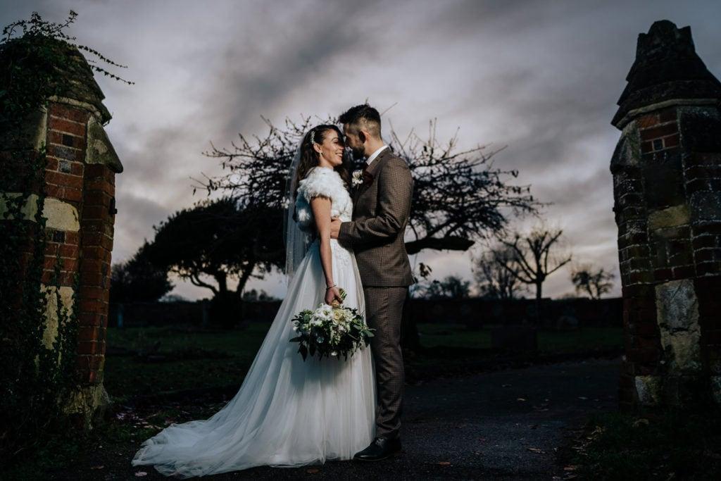 dramatic wedding photograph at Kings Chapel Amersham