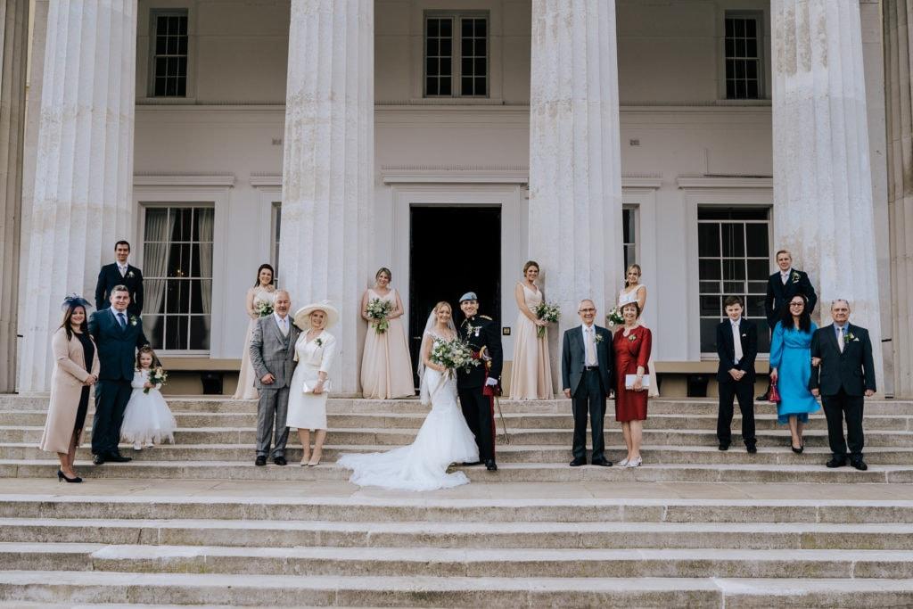 wedding group photo on Old College Steps Sandhurst