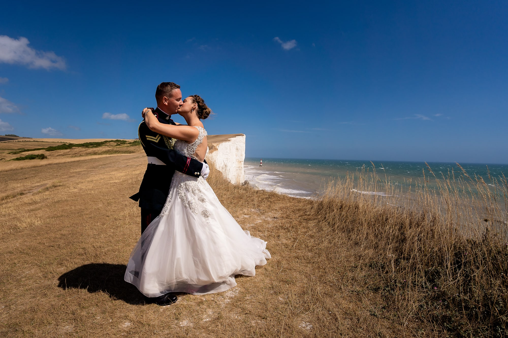 wedding photo taken on top of beachy head