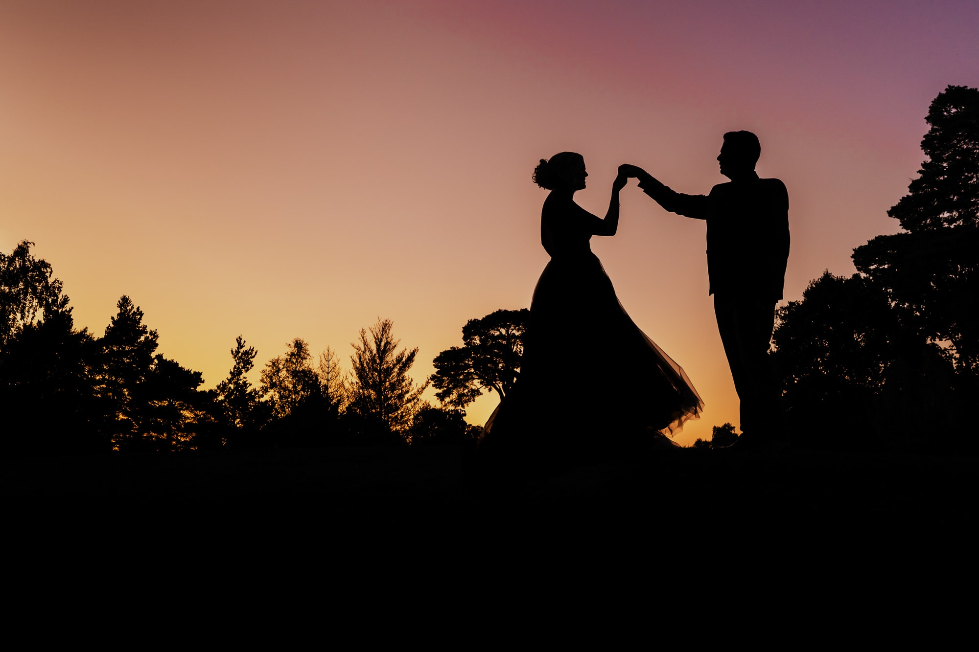 sunset portrait of bride and groom at Foxhills Country Club Wedding venue