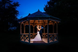 Bride and Groom creative portrait at Audleys Wood Hotel Basingstoke