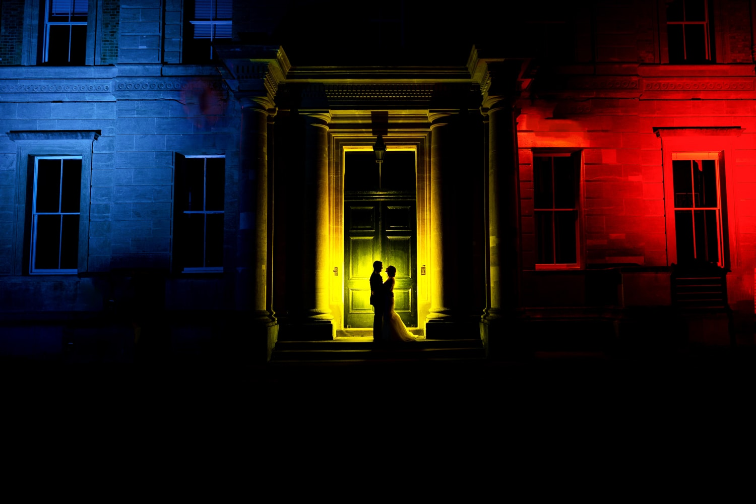 cool night portrait of bride and groom at sandhurst