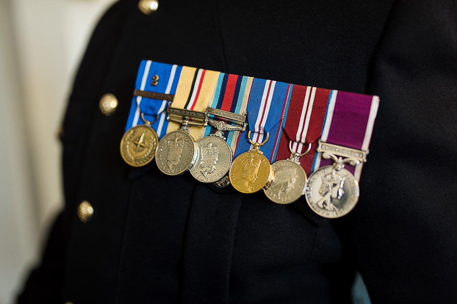 medals on British Army No 1 uniform for wedding