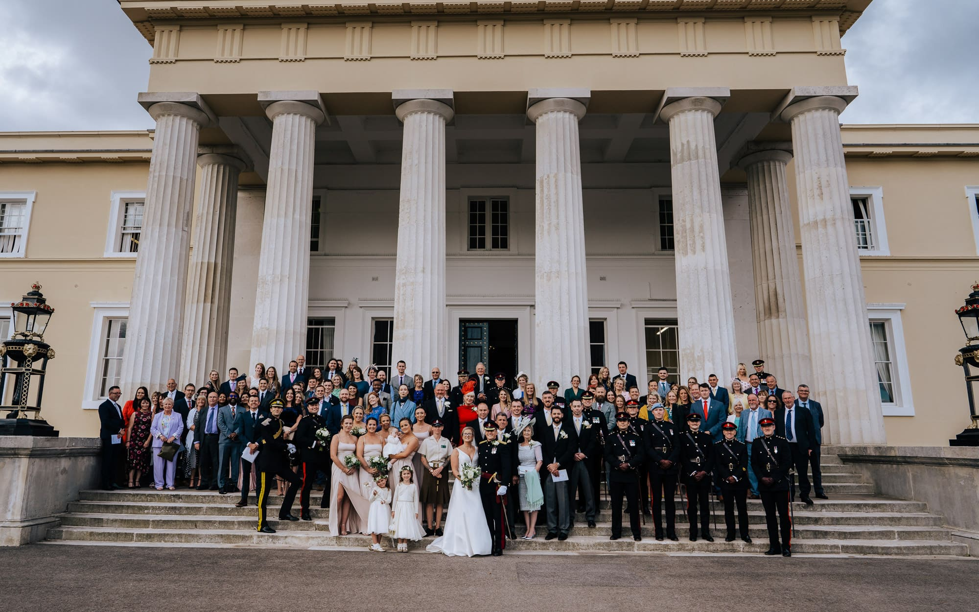 wedding group photo on Old College Steps Sandhurst