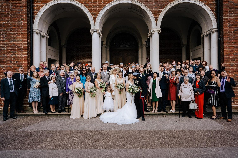 group photo of wedding party RMA Sandhurst