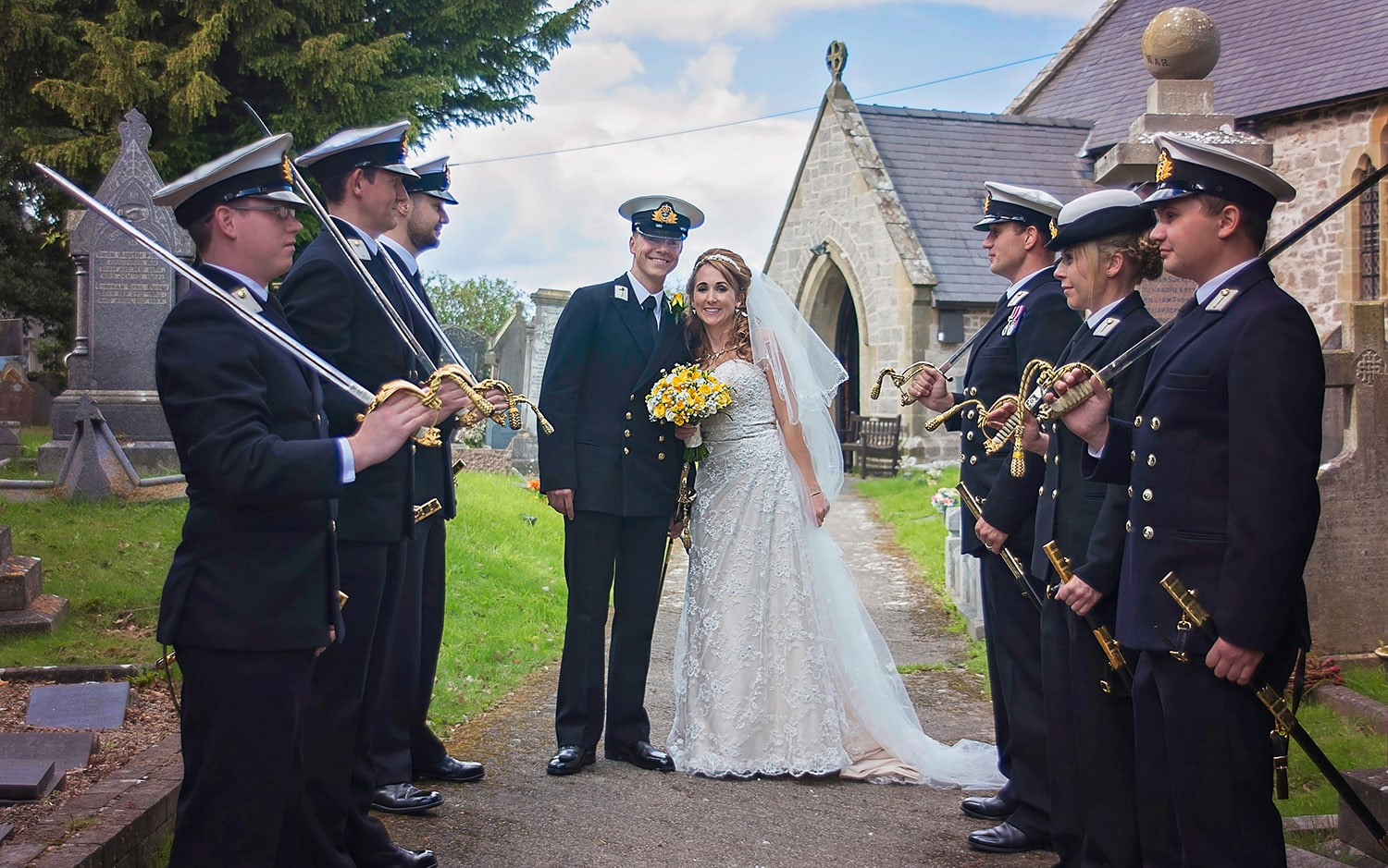 Royal Navy Guard of Honour with bride and groom