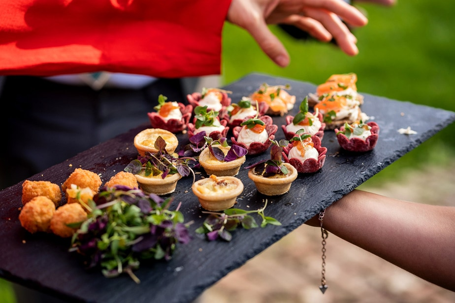 canapés served at a wedding
