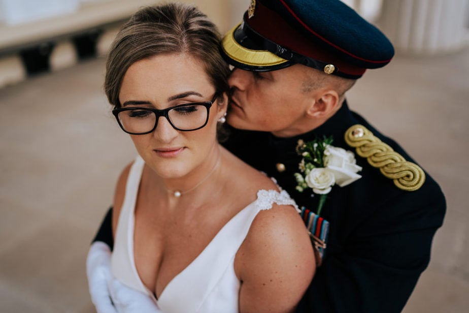 initimate portrait of army wedding couple