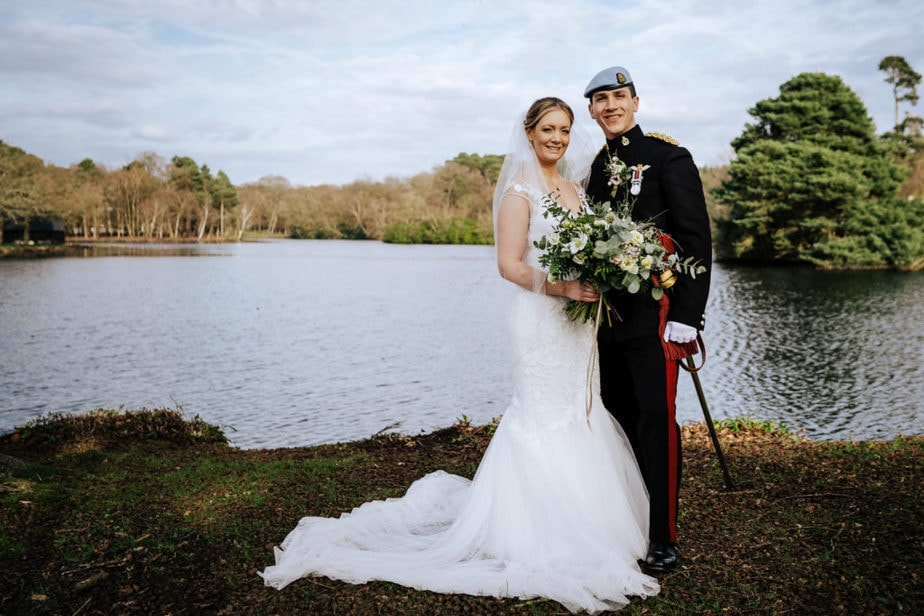 military bride and groom portraits