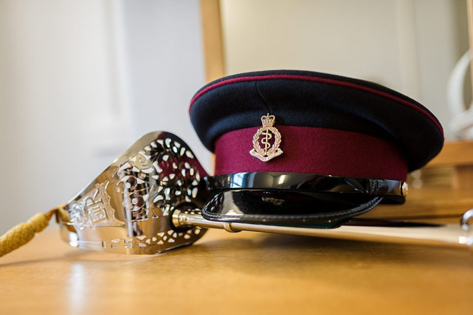 military wedding details RAMC hat and sword