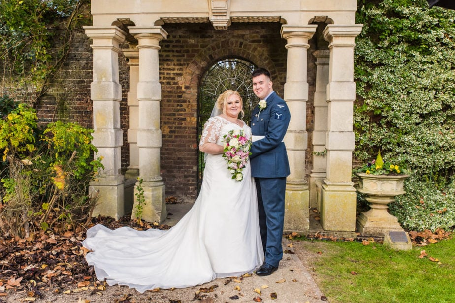 RAF military groom with his bride