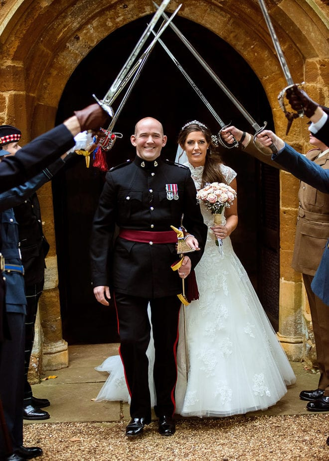 army officer and his bride at UK military wedding