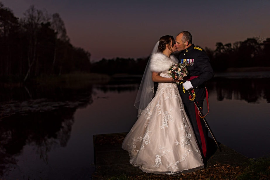 epic portrait of military bride and groom at RMA Sandhurst