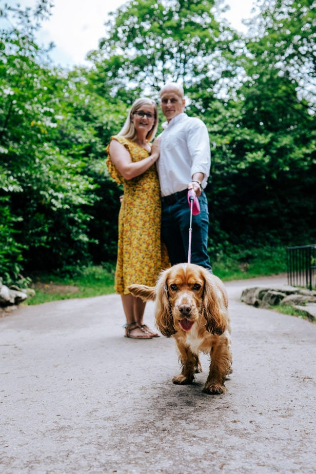 engagement shoot in Surrey with engaged couple and their cocker spaniel dog