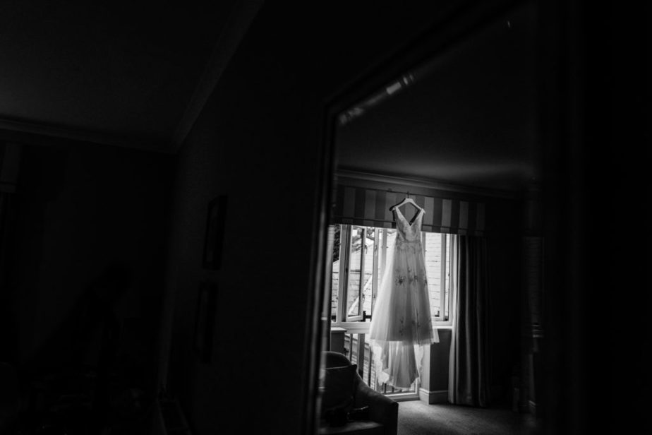 stunning wedding dress photo captured by surrey wedding photographer