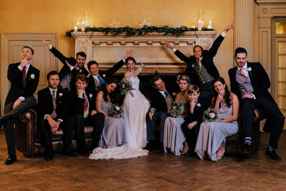stylish wedding group photos at Hampton Court House Surrey wedding