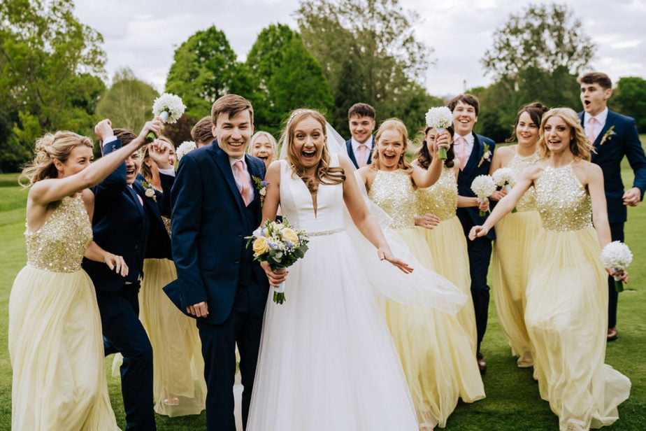 fun group shots at a surrey wedding