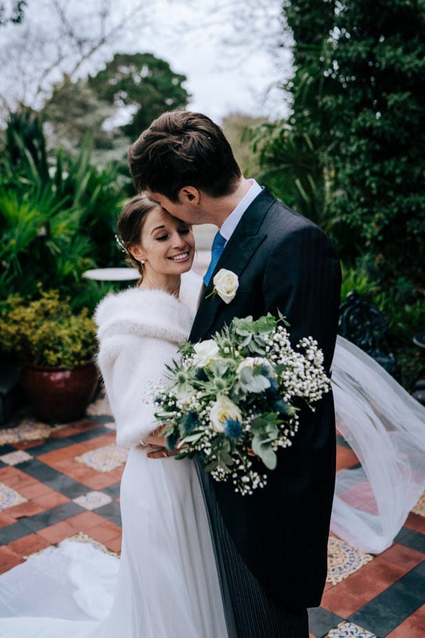 Surrey wedding intimate portrait of bride and groom