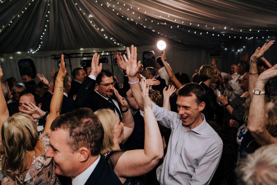 guests dancing during surrey wedding reception