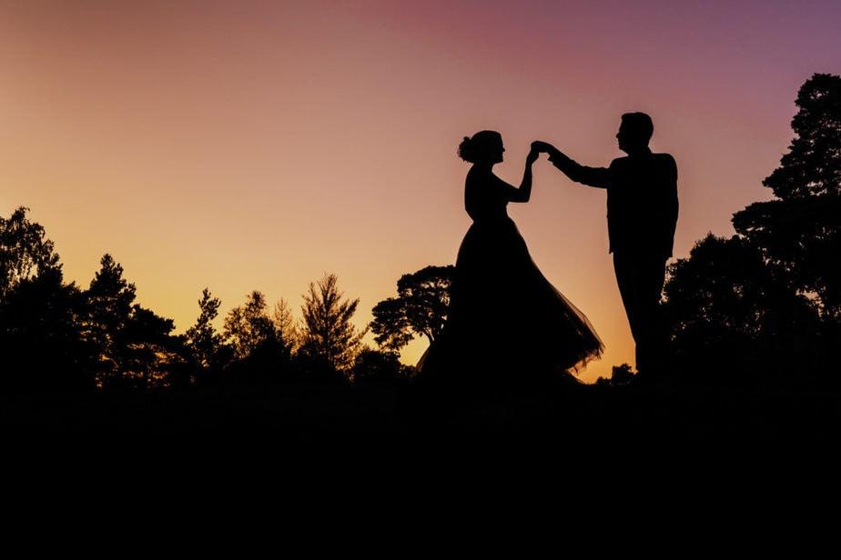 bride and groom sunset portrait at surrey wedding